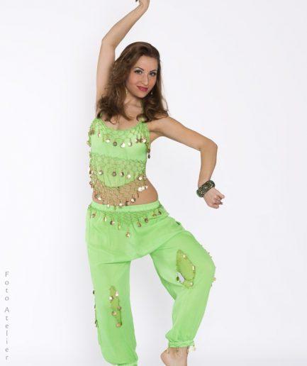 Bauchtanzkostüm Yasmin mit Hose - hellgrün