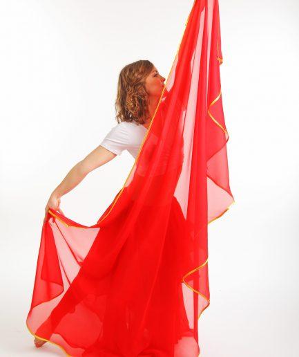 Bauchtanzschleier 1farbig Rot Silber