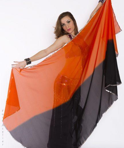 Bauchtanzschleier Orient Inside orange schwarz
