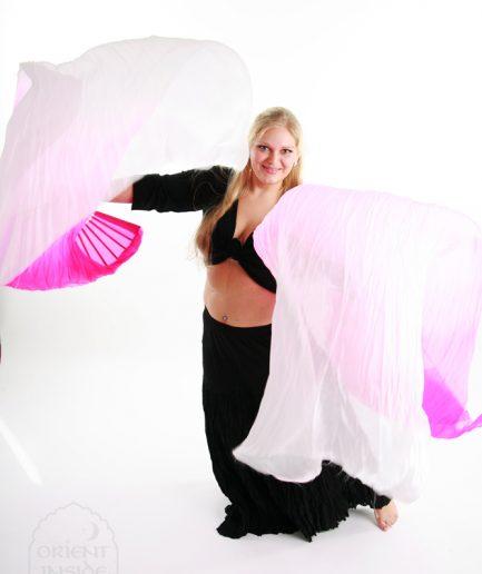 Fächerschleier aus Seide - pinkweiß