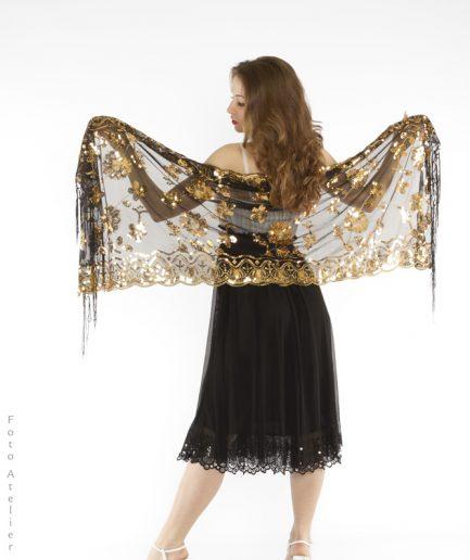Orientalische Stola Damaskus Rose - schwarz/gold-0