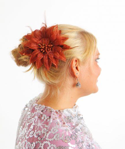 Blumen-Haarschmuck Feather Braun Orient Inside