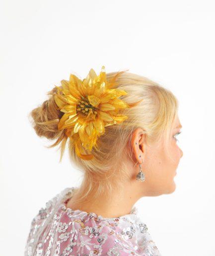 Blumen-Haarschmuck Feather Gold Orient Inside