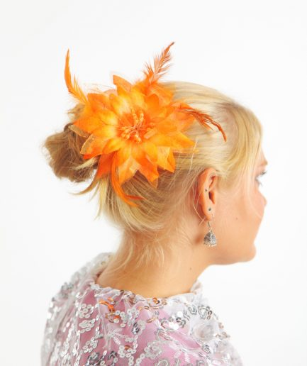 Blumen-Haarschmuck Feather Orange Orient Inside