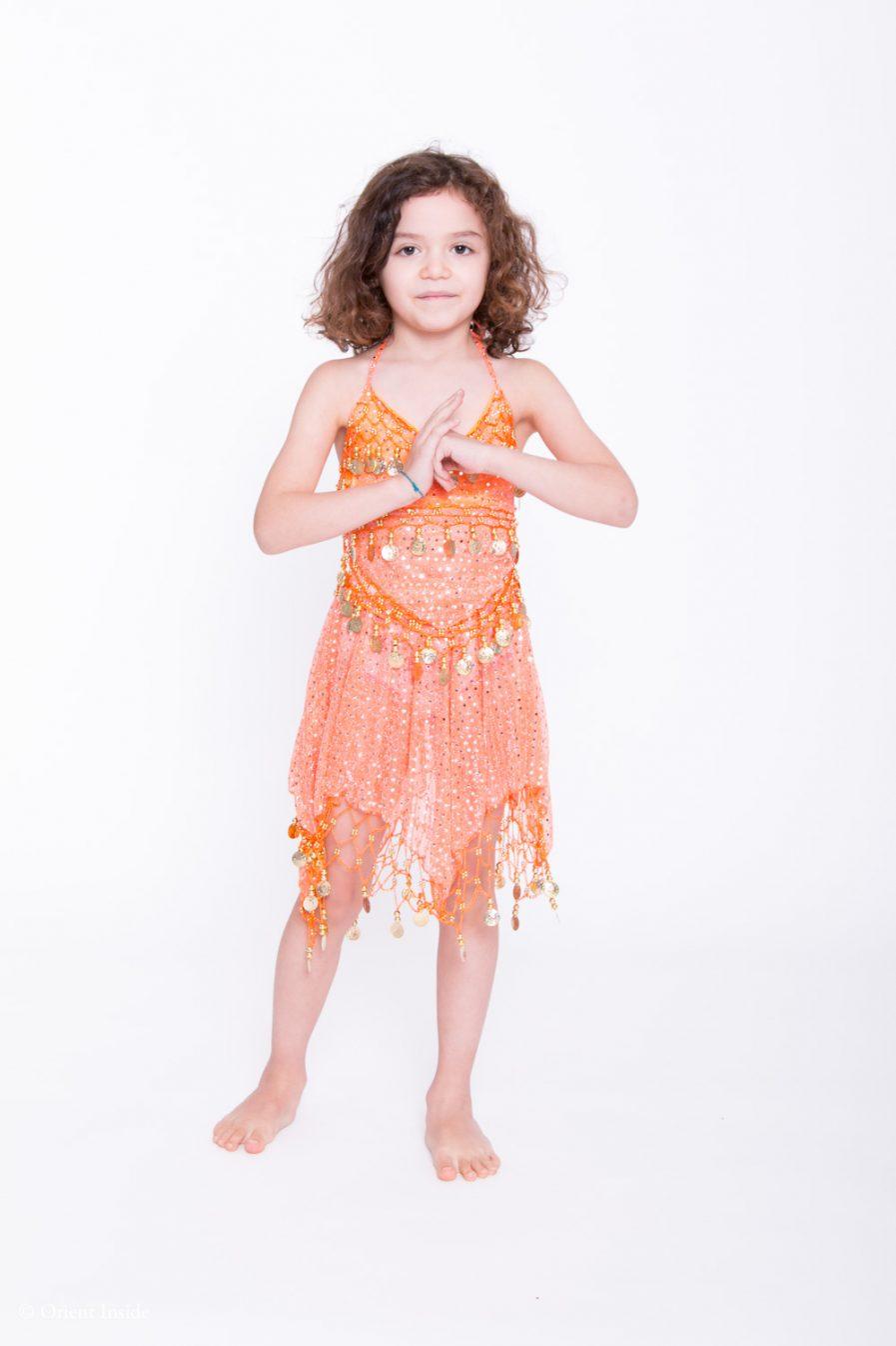 Kinder Bauchtanzkostüm Sparkle - 4-7 J.- dunkelgrün