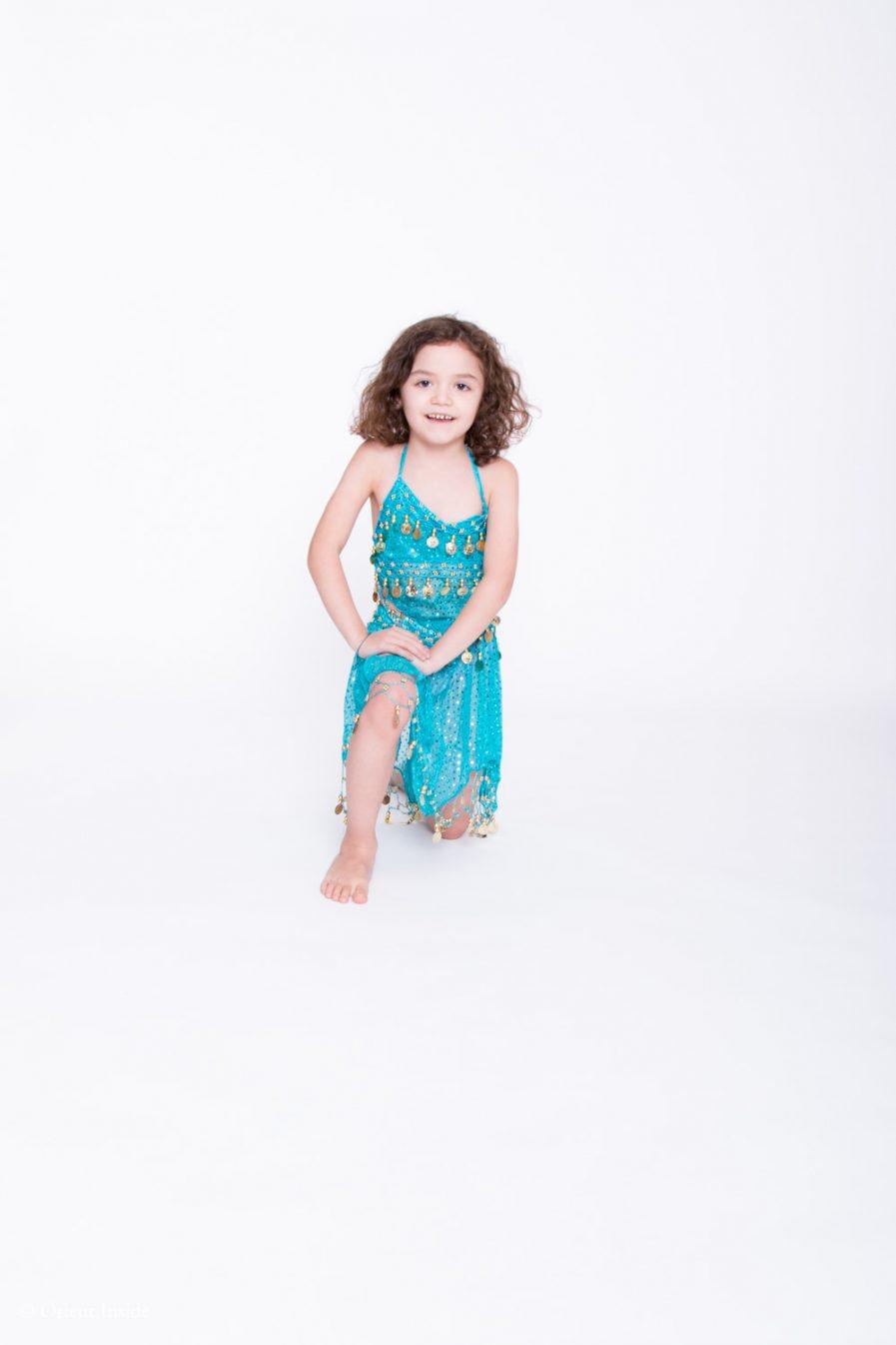 Kinder Bauchtanzkostüm Sparkle - 4-7 J.- dunkelgrün4