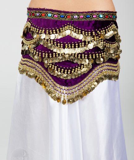 Samt-Hüfttuch Oriental - lila/gold3