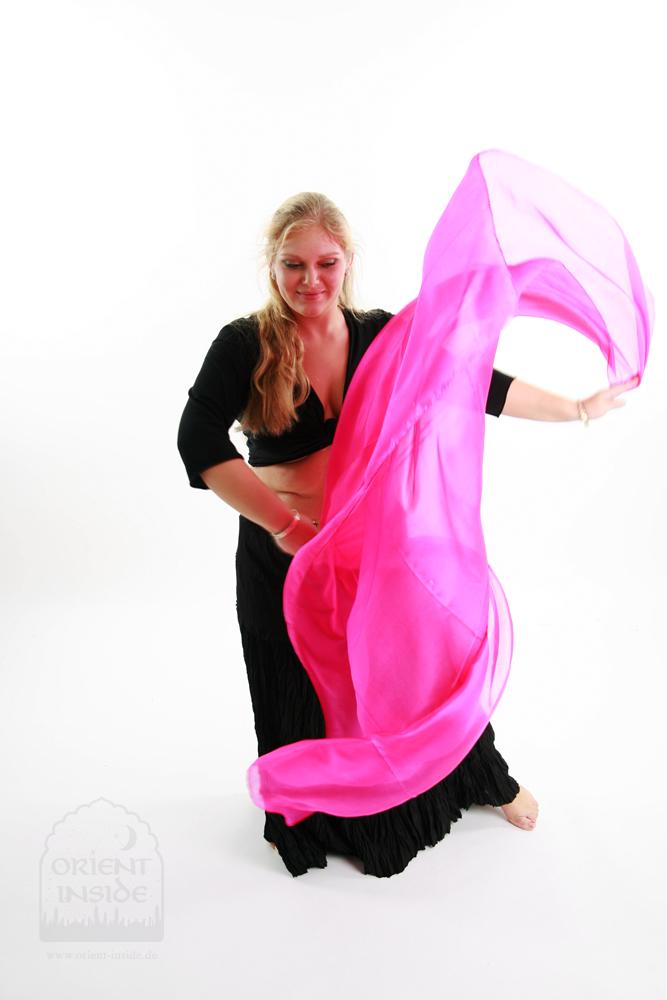 Bauchtanzschleier Seide Orient Inside Bauchtanzkostüme Pink3