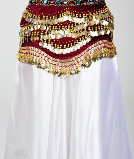 Samt-Hüfttuch Oriental - bordeaux/gold3
