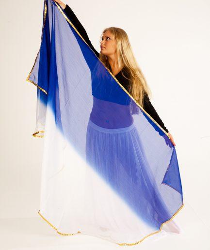Bauchtanzschleier 2-farbig - weiß blau gold