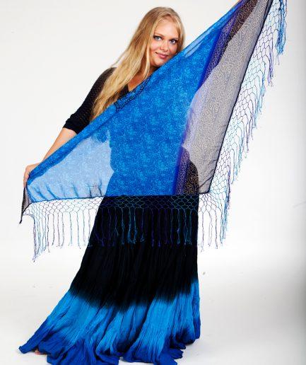 Lautloses Tribal Hüfttuch - Chunri Basic - hdblau