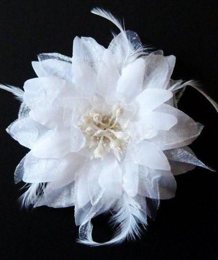 Blumen-Haarschmuck Feather weiß