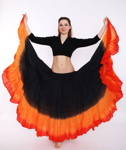 bauchtanzrock-tribal-25yard-schwarz-orange-feuerrot