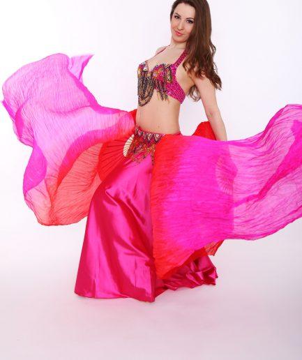 Fächerschleier aus Seide - rot/pink