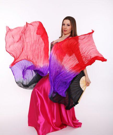 Fächerschleier aus Seide - schwarz/lila/rot