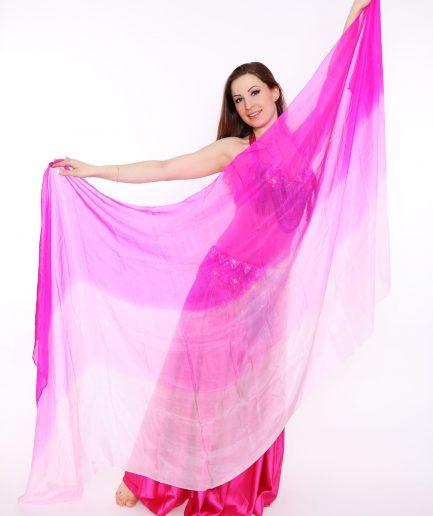 Bauchtanzschleier - 100% Seide - pink/rosa/weiß