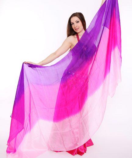 Bauchtanzschleier - 100% Seide - lila/pink/rosa