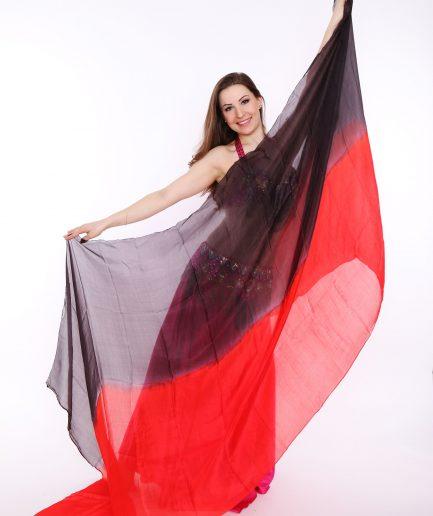 Bauchtanzschleier - 100% Seide - schwarz/rot