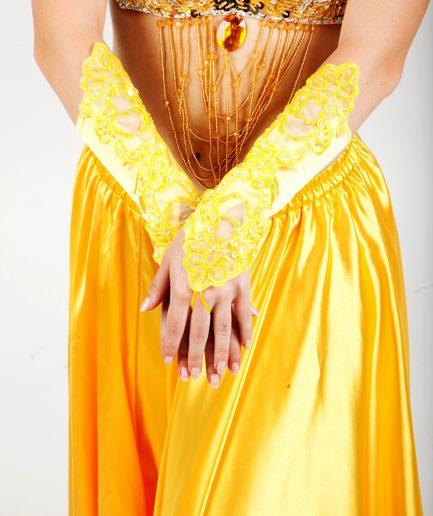 Bauchtanzhandschuhe Lace - gelb