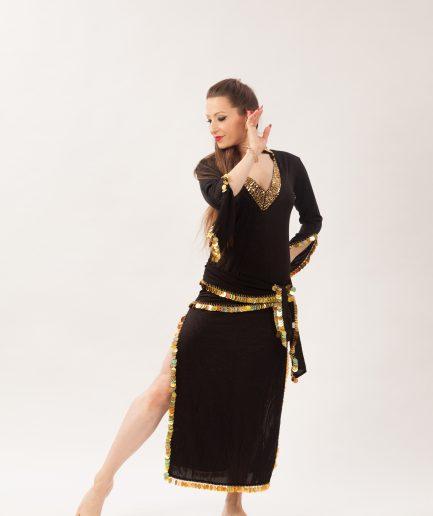 Baladikleid Premium Kollektion Daria - Gr.36-38 - schwarz/glitter