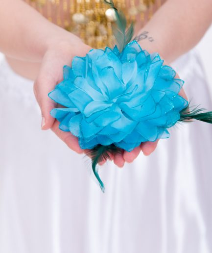 Blumen-Haarschmuck La Fleur - türkis