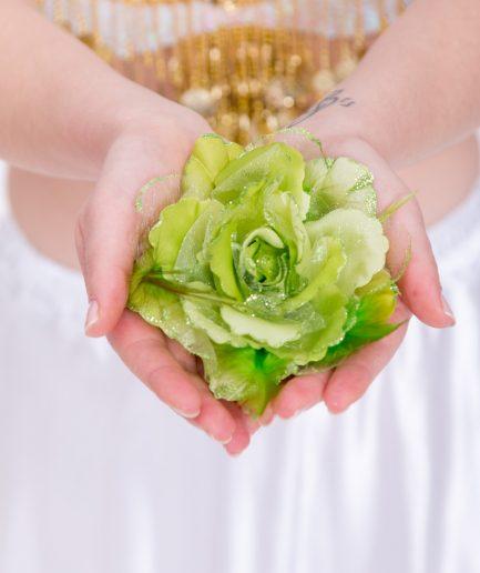 Blumen-Haarschmuck Gül - grün
