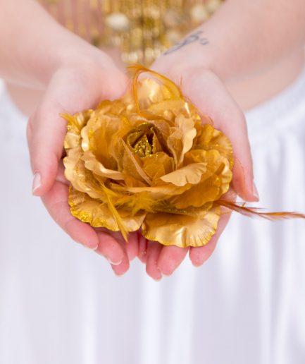 Blumen-Haarschmuck Gül - gold