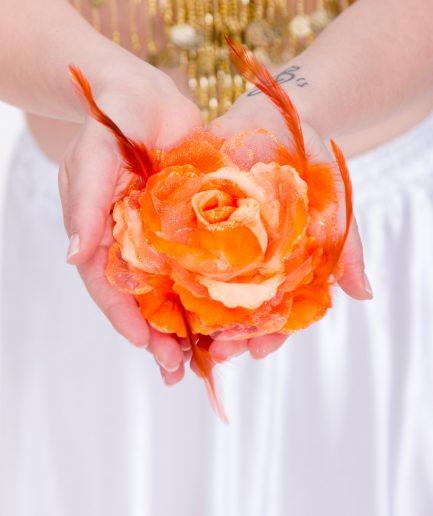 Blumen-Haarschmuck Gül - orange