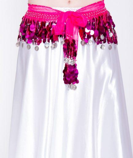 Chiffon-Hüfttuch Holo - pink/silber
