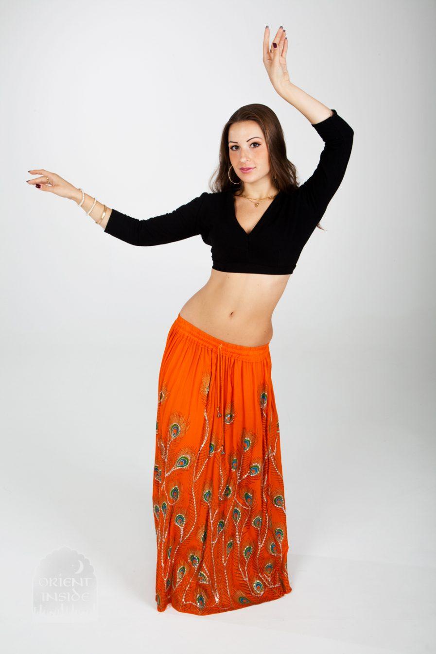 Indischer Tanzrock Peacock - Gr.34-44 - orange3