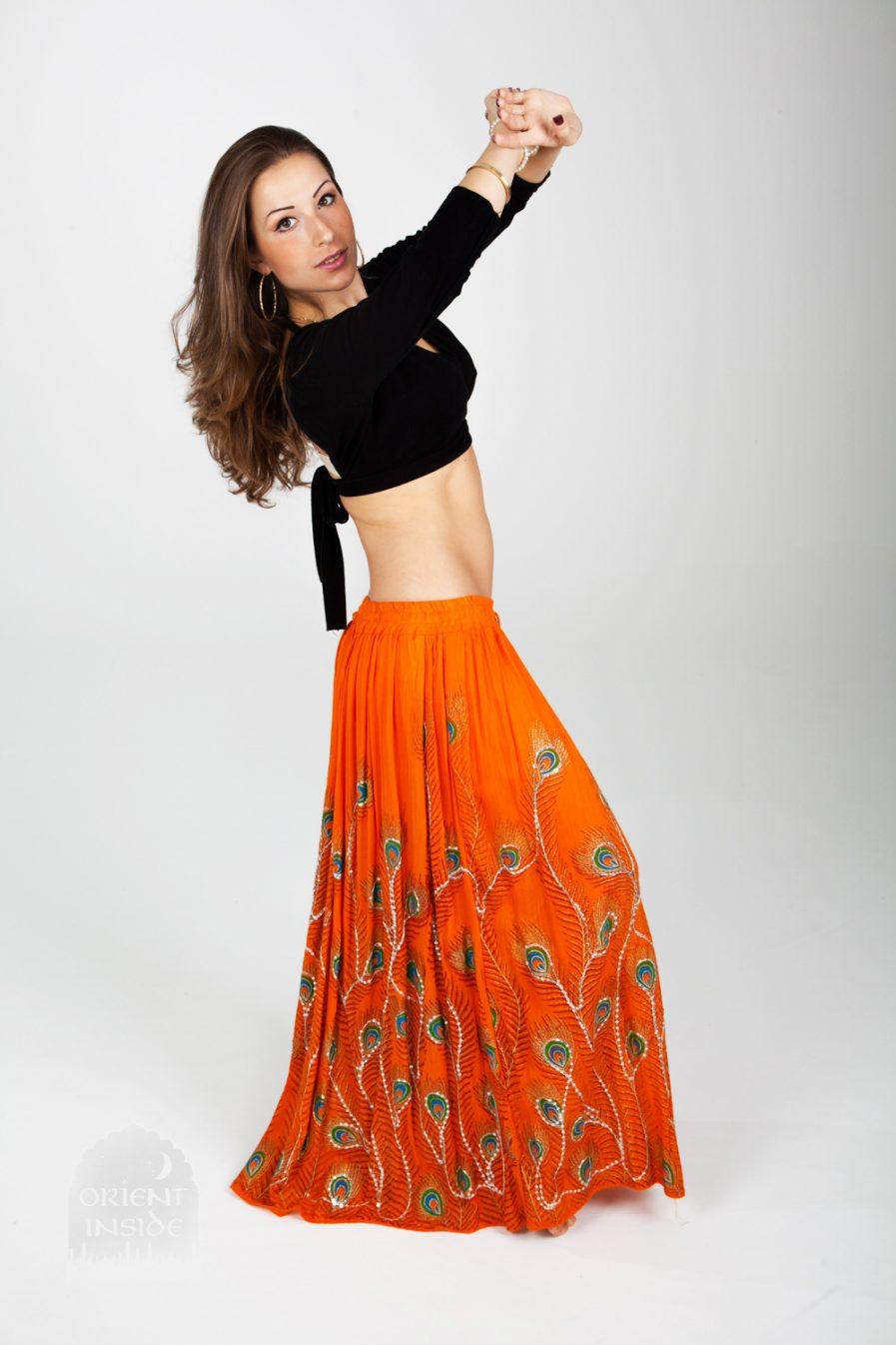 Indischer Tanzrock Peacock - Gr.34-44 - orange2