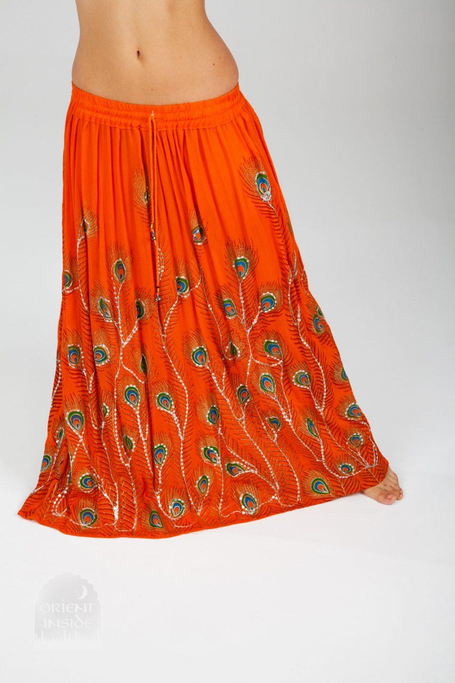 Indischer Tanzrock Peacock - Gr.34-44 - orange