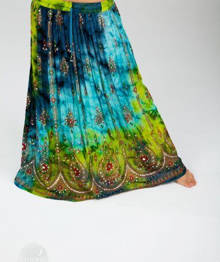 Indischer Tanzrock Tulip - Gr.34-44 - grün-blau
