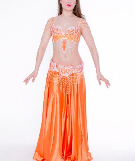 Bauchtanzkostüm Aphrodite - 3-tlg.- Gr. 34 - 38 - orange