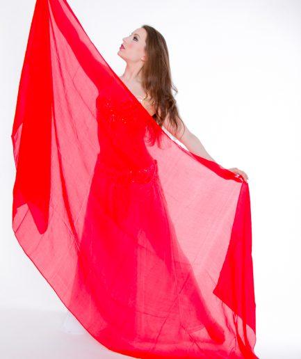 Bauchtanzschleier - 100% Seide - rot