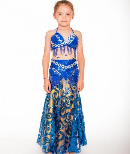 Kinder Bauchtanzkostüm Malaika - 8-12 J. - royalblau