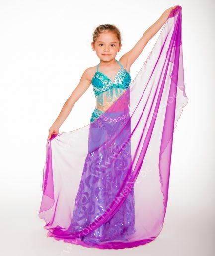 Kinder Bauchtanzschleier Seidenchiffon 1-farbig -lila