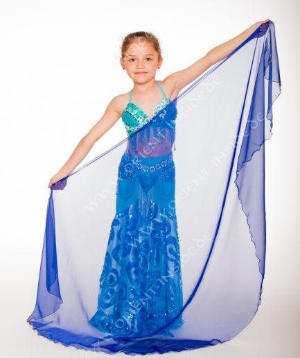 Kinder Bauchtanzschleier Seidenchiffon 1-farbig - royalblau