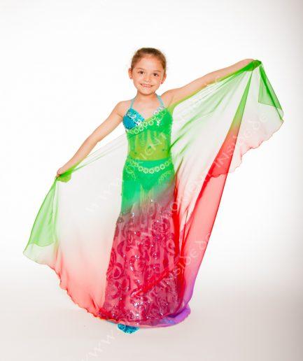 Kinder Bauchtanzschleier Seidenchiffon - multicolor - rot/grün/lila