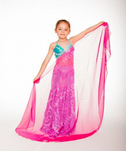 Kinder Bauchtanzschleier Seidenchiffon 1-farbig - pink