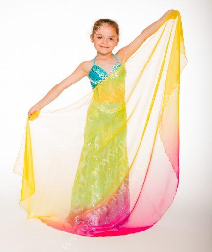 Kinder Bauchtanzschleier Seidenchiffon - multicolor - gelb/pink