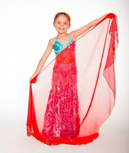Kinder Bauchtanzschleier Seidenchiffon 1-farbig - rot