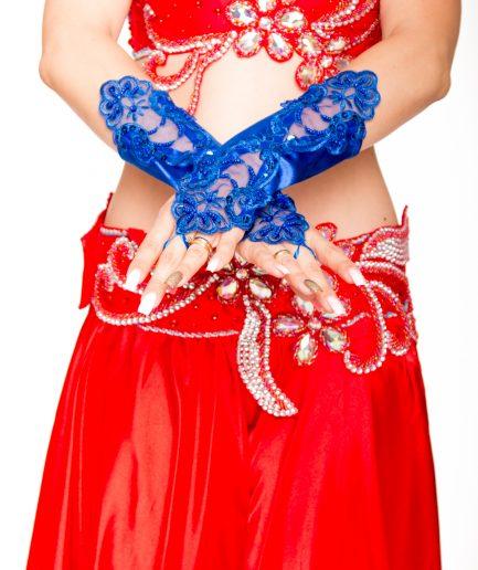 Bauchtanzhandschuhe Lace - royalblau