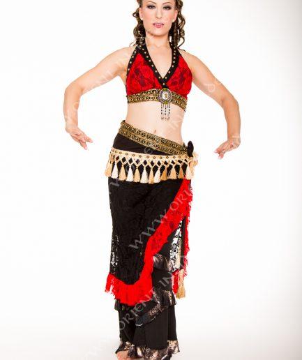 Tribal Kostüm Amber - Gr.34-42 - schwarz/rot