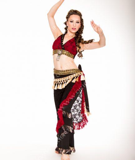 Tribal Kostüm Amber - Gr.34-42 - schwarz/bordeaux