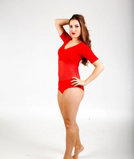 Body Mesh mit Bauchnetz - Gr.42-46 - rot