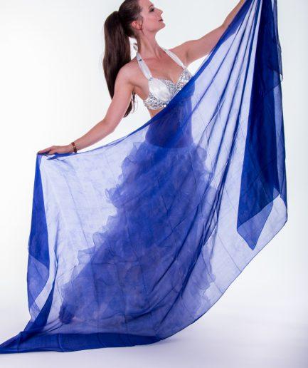 Bauchtanzschleier - 100% Seide -royalblau