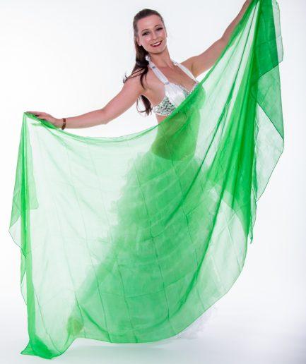 Bauchtanzschleier - 100% Seide - grün