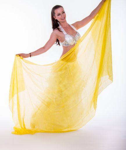 Bauchtanzschleier - 100% Seide -gelb