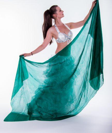 Bauchtanzschleier - 100% Seide -dunkelgrün